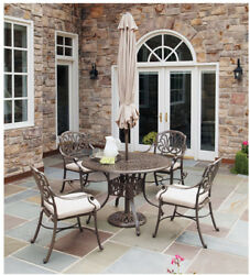 Outdoor Patio Dining Set 5 Piece w Umbrella Table Chairs Metal Garden Furniture