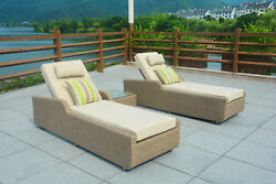 3PCS Outdoor Patio Rattan Wicker Furniture Pool Chaise Lounge Chair Table