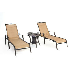 Monaco 3pc Sling Chaise Lounge Chair set: 2 Chaise Chairs 1 Fire Urn