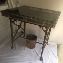 Antique Bank Table Bronze Brass Iron Glass Deco Regency Neoclassical Curule