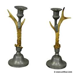 antique cabin decor antler candleholders with pewter spouts