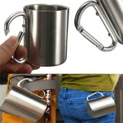 220ml Stainless Steel Mug Outdoor Camp Camping Cup Carabiner Hook Double Wall Ne $7.18