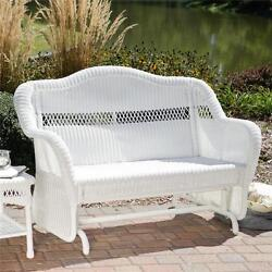 Outdoor South Bay White Resin Wicker Glider Loveseat Settee Patio Furniture New