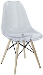 MODWAY Pyramid Clear Dining Side Chair Flexible Comfortable Seat Plastic Home