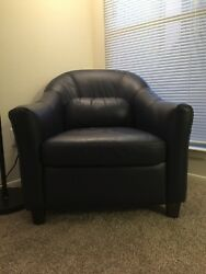 Used Genuine 100% Leather Chair Blue with Leather Care Kit (Included)