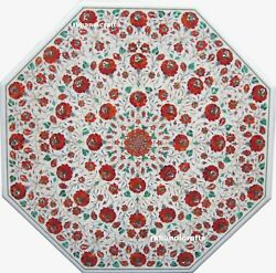 36'' Carnelian Beautiful White Marble Patio Table Top Inlay Luxury Floral Design