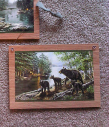2 Black Bear Pictures Bears Rustic Cubs Lodge Log Cabin Wall Hangings Home Decor