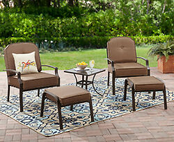 Outdoor Furniture Set 5 Piece Table Chairs Ottomans Cushions Garden Lawn Patio