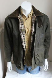 vintage mens dark green waxed cotton country hunting jacket quilted lining XS