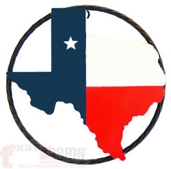 9quot; Western Rustic Texas Map Outline Flag Star Twisted Wire Ring Wall Sign Plaque $13.95