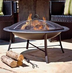 Jeco 30-in W Black Steel Wood-Burning Fire Pit with Protective Cover Outdoor