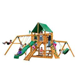 Frontier 11-ft H Cedar Playset with Amber Posts and Deluxe Green Vinyl Canopy