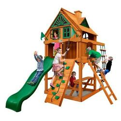 Chateau Tower Treehouse 132-in H Cedar Playset with Fort Add-On and Amber Posts