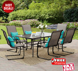 7Pc Patio Dining Furniture Set Sling High Back Chair Glass Top Table Steel Frame