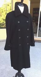 Chanel One Of A Kind 100% Cashmere Black Dbl Breasted Coat Baby Lamb Fur Collar