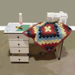 Portable Folding Sewing Table Machine Desk Center Storage Drawers Cupboard Sew