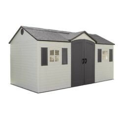 Lifetime 6446 Outdoor Storage Shed with Shutters Windows and Skylights 8 by 1