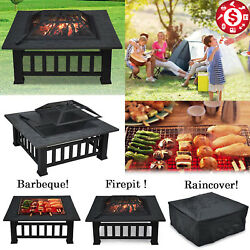 Outdoor Wood Burning Fire Pit Black Steel Bowl BBQ Grill Patio Backyard Firepit