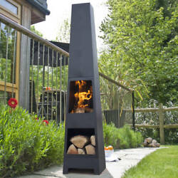 Outdoor Fireplace Chiminea Modern Contemporary Fire Pit Log Storage Ambience