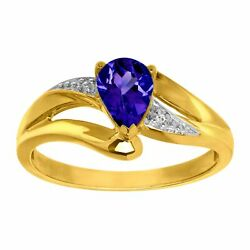 1 ct Created Ceylon Sapphire Ring with Diamond in 10K Gold