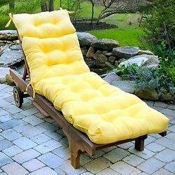 Lounge Chair Cushion Seat Padding Tufted Chaise Mattress Patio Pool Deck Yellow