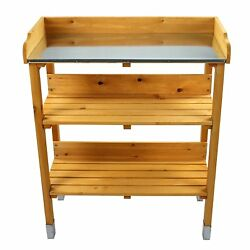 Wooden Garden Potting Bench Outdoor Planting Table with Open Shelf Side Hooks