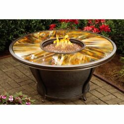 Oakland Living Moonlight 48 in. Round Gas Fire Pit Table Antique Bronze