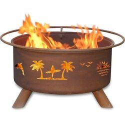 Pacific Coast 31-inch Fire Pit with Grill and FREE Cover 31L x 31W x 17H in.