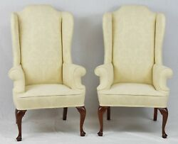 PAIR of Kittinger Mahogany Wing Back Chairs Queen Anne Williamsburg Style Damask