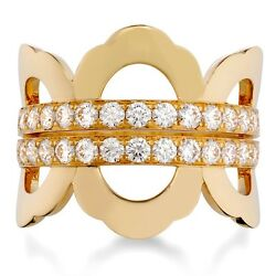 HEARTS ON FIRE SIZE 6 18k YELLOW GOLD RING 30 IDEAL CUT BRILLIANT DIAMONDS