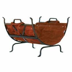 Iron Firewood Log Rack Wood Holder Fireplace Leather Logs Carrier Woods Outdoor