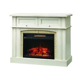 Electric Fireplace White Wood Mantel Infrared Heater TV Media Center Storage