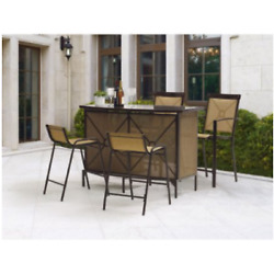 Patio Dining Set Bar Height Chairs Table Glass Top Outdoor Garden Furniture 5 PC