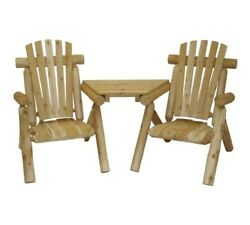 Rustic Natural Wood Log Double Chairs w Table Between Outdoor Love Seat NEW