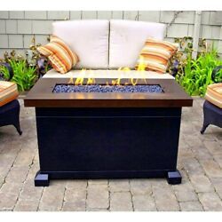 Gas Fire Pit Table Smokeless Fireplace Glass Crystal Outdoor Heater Patio Deck
