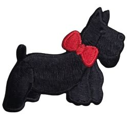 Scottie Applique Patch Black Dog Red Bow Puppy 3quot; Iron on $3.00