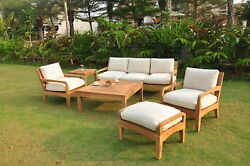 SSNO A-Grade Teak Wood 6 pc Large Sofa Lounge Chair Set Outdoor Garden Patio