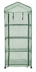 4 Tier Mini Portable Garden Greenhouse on Wheels Plants Shed Hot House for Indoo