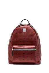New Authentic MCM Logo Coated Canvas Leather Medium Backpack in Scooter Red