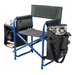 Portable Dark Grey with Blue Fusion Outdoor Patio Chair with Adjustable Straps