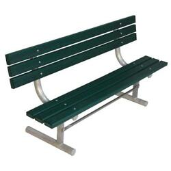 Commercial Green 6 ft. Surface Mount Park Recycled Plastic Bench with Back