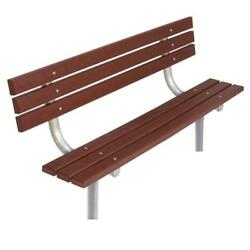 Brown Recycled Plastic 6 ft. In-Ground Park Bench with Back and Metal Frame