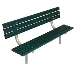 Green 6 ft. In-Ground Recycled Plastic Park Bench with Back Surface Mount