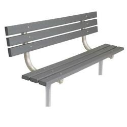 Gray 6 ft. Park In-Ground Recycled Plastic Bench with Back and Welded Frame