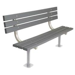 Gray 6 ft. Commercial Park Recycled Plastic Bench with Back and Metal Frame