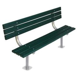 Green Recycled Plastic 6 ft. Park Bench with Back and MIG Welded Steel Frame