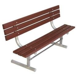 Brown 6 ft. Recycled Plastic with Steel Frame Park Bench with Back Surface Mount