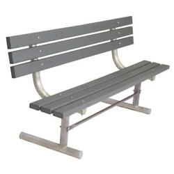 Powder Coated Gray 6 ft. Park Recycled Plastic Bench with Back Surface Mount