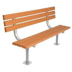 Cedar 6 ft. Recycled Plastic Commercial Park Bench with Back Surface Mount