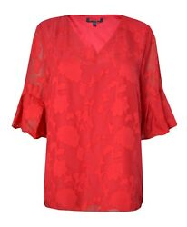 CLEARANCE Mamp;Co 14 24 Red Jacquard Plus Party Smart Casual Shirt Top Blouse GBP 4.99